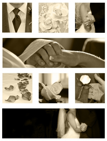 bridesmaid: Wedding collage background collection in sepia