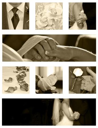 Wedding Collage Hintergrund Kollektion in sepia