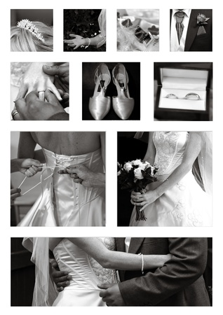 bridesmaid: Wedding collage collection in black and white