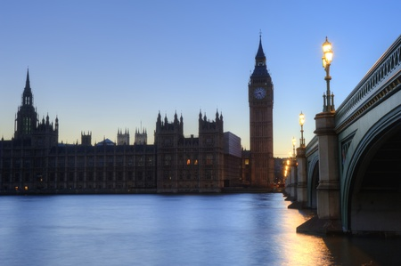 westminster: Beautiffully lit night cityscape including London landmarks on long exposure