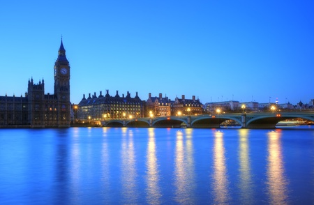 Beautiffully lit night cityscape including London landmarks on long exposure