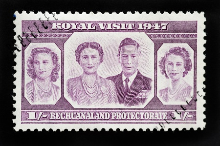 commonwealth: BOTSWANA - CIRCA 1947 - Commonwealth postage stamp marking Royal visit in 1947 to Bechuanaland Proctectorate which later renamed Botswana