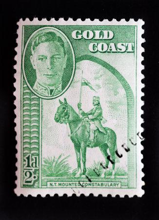 definitive: Costa de oro - alrededor de 1948 - tema definitivo Mancomunidad sello con el retrato del rey George VI Editorial
