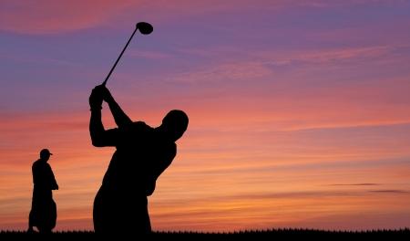 golfers: Golfer silhouette on beautiful colorful sunset evening sky