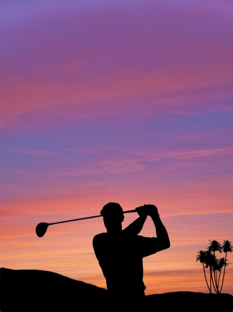 Golfer silhouette on beautiful colorful sunset evening sky