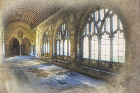 Grunge retro effect treatment on image of cathedral cloisters