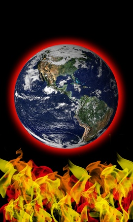 burn out: Flames heating Earth from below global warming concept