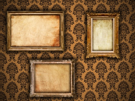 wooden insert: Gilded frames on vintage damask style wallpaper background and grunge retro paper inserts