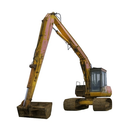 Old excavator digger isolated on white Stock Photo - 9393258