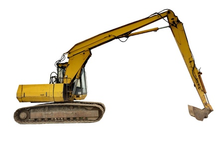 Old excavator digger isolated on white photo