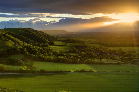 Landscape over English countryside landscape in Summer sunset Stock Photo - 9603415