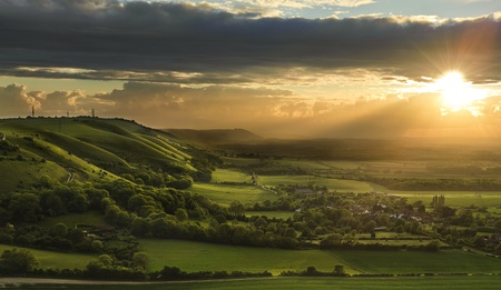 Landscape over English countryside landscape in Summer sunset Stock Photo - 9603416