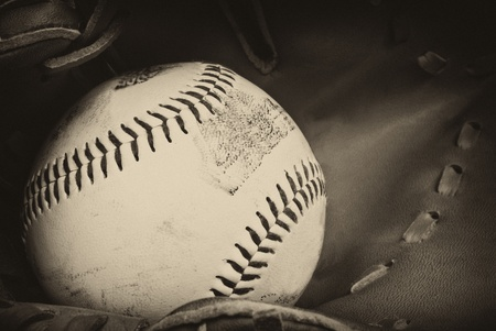 memorabilia: Vintage retro image of baseball and glove in old antique plate style of photograph
