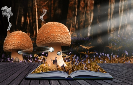 Fantassy world contained on fairytale book spills out and creates fantasy background photo