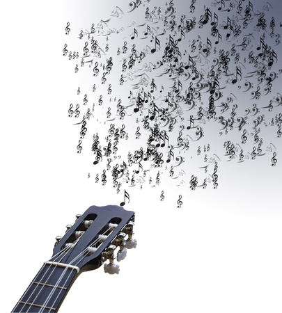 Lovely background image of musical notes coming out of guitar strings onto isolated white background Imagens