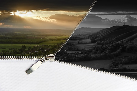 undone: Beautiful Summer countryside landscape changes to black and white scene through open zipper