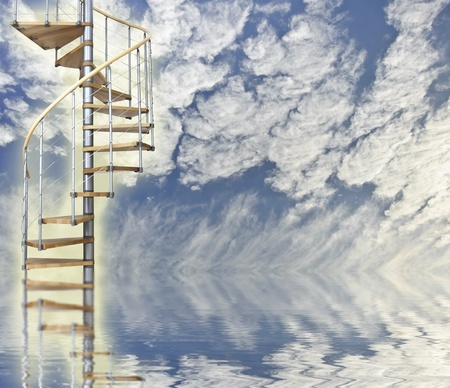 reincarnation: Blue sky relfected in water with spiral stairway to heaven glowing Stock Photo