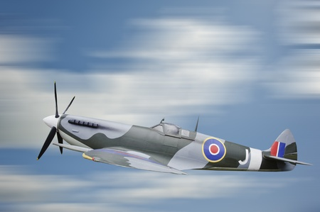 military invasion: World War Two era British Spitfire aircraft in flight