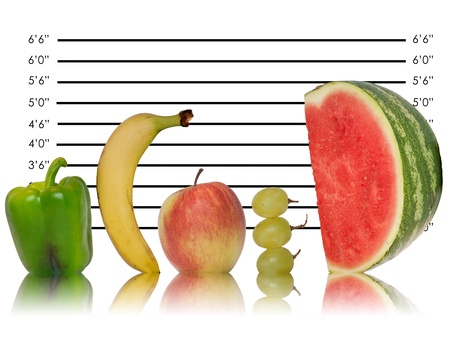 Unique creative image of fruit lined up against police ID line up Stock Photo - 10219034