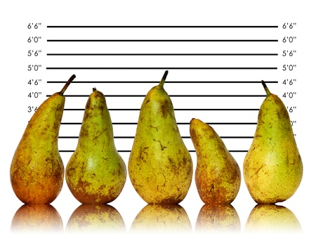 Unique creative image of fruit lined up against police ID line up
