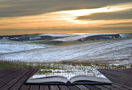 magic book: Creative concept idea of Winter landscape coming out of pages in magical book Stock Photo