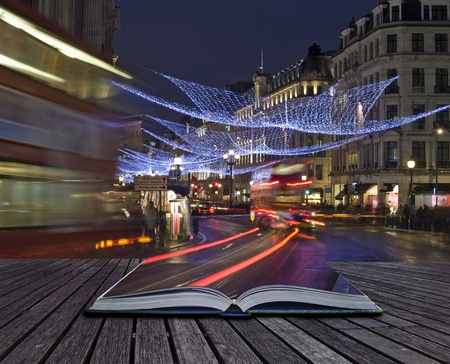 regent: Creative concept of London Christmas lights coming out of pages in magical book