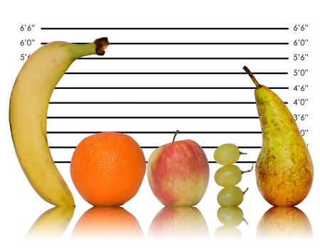 Five a day fruit police line up Stock Photo - 11994038