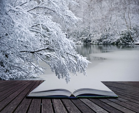 Creative concept idea of Winter landscape coming out of pages in magical book Banco de Imagens