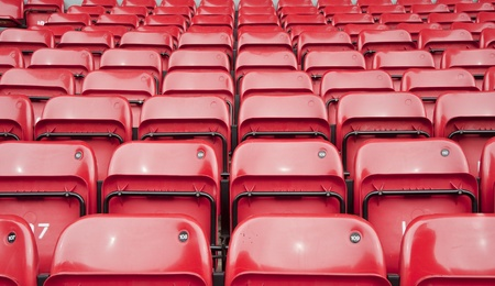 stadia: Rows upon rows of red seats in football stadium