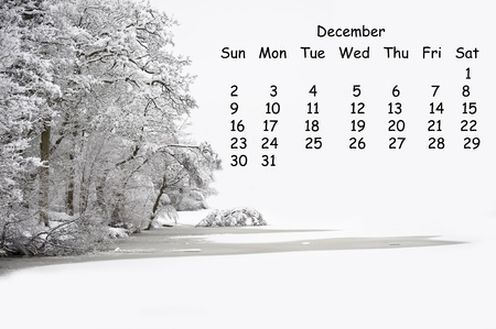 2012 calendar page for December showing vibrant English countryside landscape image photo