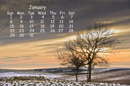 2012 calendar page for January showing vibrant English countryside landscape image photo