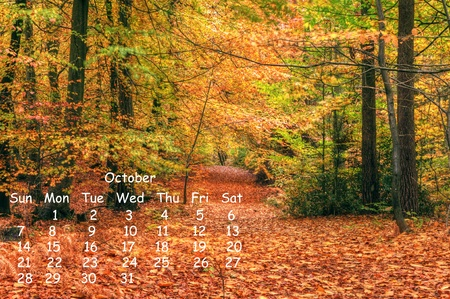 2012 calendar page for October showing vibrant English countryside landscape image photo