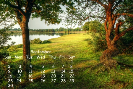 2012 calendar page for September showing vibrant English countryside landscape image photo