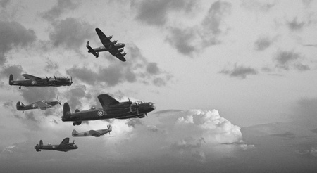 aircraft bomber: Black and white retro image of Lancaster bombers from Battle of Britain in World War Two