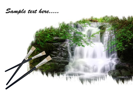 Creative concept image of new paintbrushes painting beautiful waterfall forest landscape onto paper photo