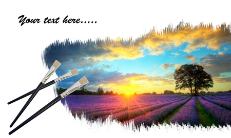 Creative image of new paintbrushes painting stunning lavender field sunset onto blank paper photo