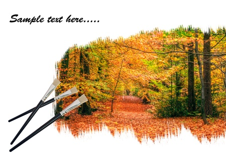 Creative concept image of new paintbrushes painting beautiful Autumn Fall forest landscape onto paper Stock Photo - 10428864
