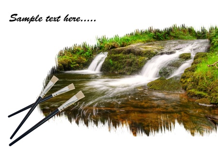 Creative concept image of new paintbrushes painting beautiful forest waterfall landscape onto paper photo