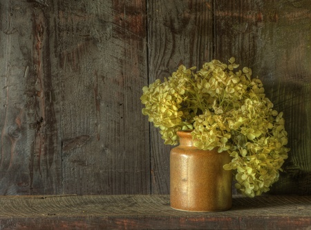 flores secas: Imagen fija la vida de las flores secas en un florero r�stico resistido contra fondo de madera