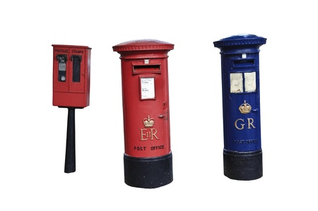 essentially: Royal Mail vintage letter box isolated on white with only blue letter box in UK included Editorial