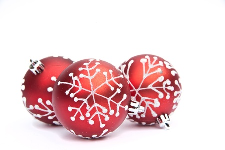Christmas bauble decorations against white background Stock Photo - 10854125