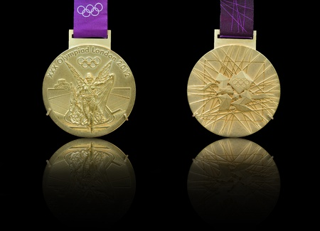 Front and back design of 2012 Olympics gold medal being hosted by London Editorial