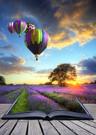 vista: Hot air balloons over Summer lavender field landscape coming out of pages in magic book