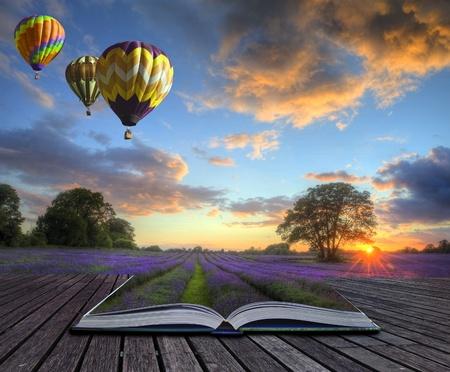 Hei�luftballons �ber Sommer Lavendelfeld Landschaft kommt aus Seiten in magische Buch