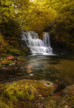 Stunning waterfall in beautiful Autumn Fall colors dense forest landscape photo