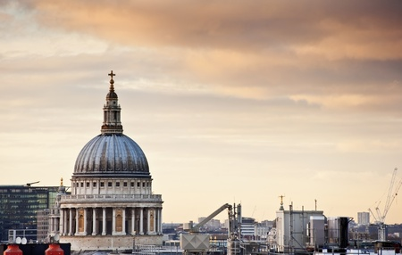 st pauls cathedral: Lovely colorful image of St Pauls cathedral in London during Winter sunset over city skyline Stock Photo