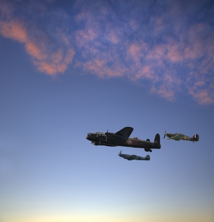 World War 2 RAF airplanes floying over lovely sunset golden hour