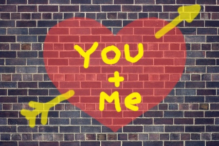 Concept of Valentine's Day heart graffiti on brick wall background Stock Photo - 12324134