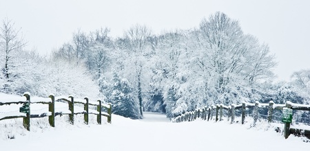 Snow Winter landscape countryside scene with English countryside photo