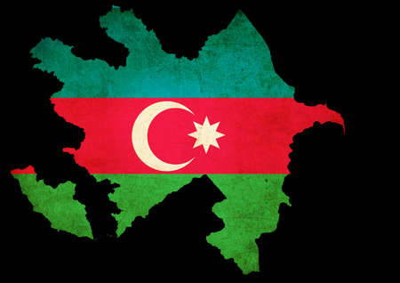 Map outline of Azerbijan with flag insert grunge effect photo